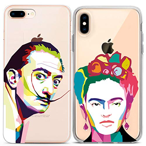Lex Altern Couple iPhone Case Pop Art Xs Max X Xr 10 8 Plus 7 6s 6 SE 5s 5 Salvador Dali TPU Clear Frida Kahlo for Her Girlfriend Phone Cover Anniversary Matching Relationship Lightweight -
