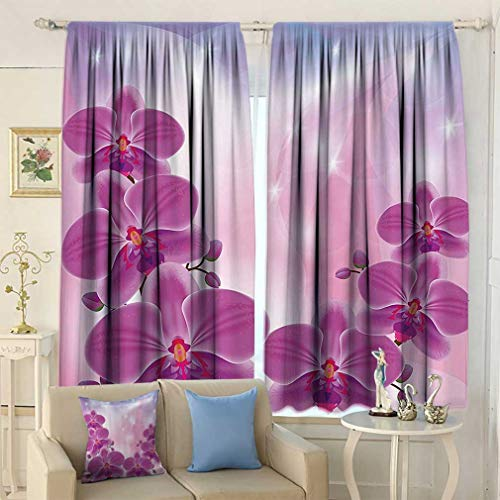 Floral Blackout Curtains, Exotic Orchid Flowers Flourishing on Abstract Background Circles Stars Window Covering for Bedroom 2 Panels Set, 72'' W x 84'' L Purple Light Pink Blue