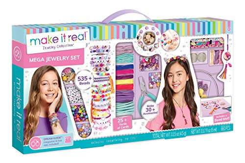 Make It Real – Mega Jewelry Set. DIY Tween Girls Jewelry Making Kit. Arts and Crafts Kit Guides Kids to Design and Create Beautiful Bracelets, Necklaces, and Headbands