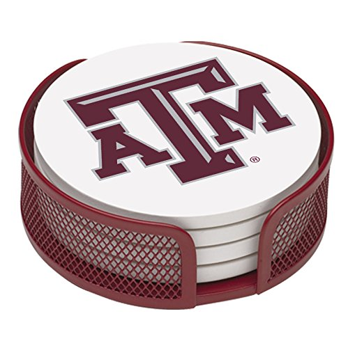 Thirstystone VTXAM2-HA22 Stoneware Drink Coaster Set with Holder, Texas A and M