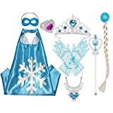 Princess Dress Up Costume Accessories Elsa Set For Princess cosplay Gloves Tiara Wand and Necklace(6 Pieces)