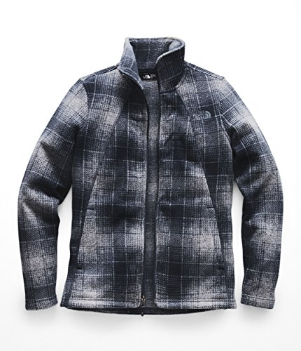 (The North Face Women's Crescent Full Zip - Mid Grey Ombre Plaid Small Print - XS)