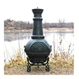 Blue Rooster Gatsby Style Wood Burning Outdoor Metal Chiminea Fireplace Antique Green Color