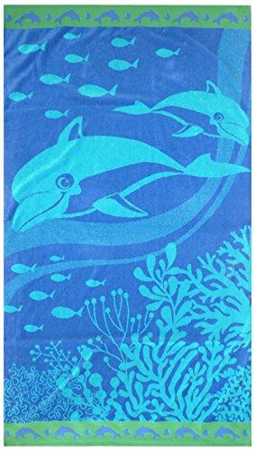 Maghso hermosa algodón egipcio de lujo grande natación delfín toalla de playa, 40 x 70