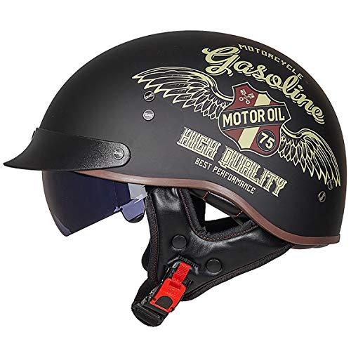 Motorradhelm Motorrad Half Helm Motorradhelm Bike Helm Roller Scooter Helm Mofa-Helm Chopper Retro Cruiser Straßenreiten…