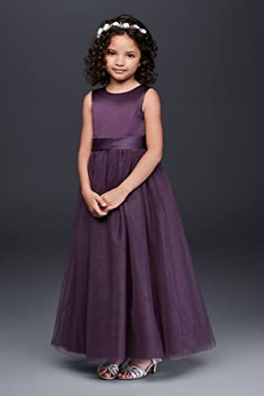 50b1d978236 David s Bridal Satin Flower Girl Communion Dress With Tulle Skirt Style  S1038 - Purple -