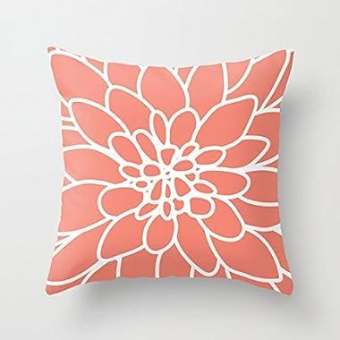 DKISEE 18  x 18  Coral Modern Dahlia Flower Decorative Throw Pillow Case Cushion Cover