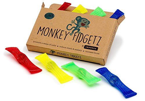 (Monkey Fidgetz Mesh-and-Marble Fidget Toy - 8-Pack - Stress/Anxiety Relief for Adults and Kids - Great Mesh and Marble Toys for Sensory Need - BPA-Free - by Impresa)