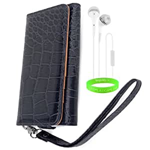 Crocodile Wallet Case – Animal Phone Protector Clutch (ROYAL BLUE) fits Sony Xperia Z 4G LTE Models (Z, ZL) + White Hands Free Earphone with Microphone