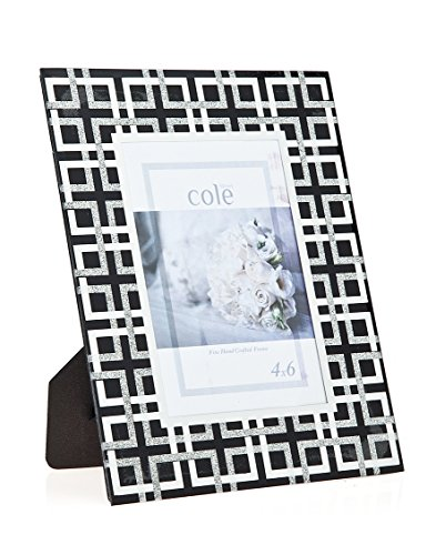 Philip Whitney 4x6 Black Glitter Geometric Picture Photo Frame Standing Horizontal or Vertical