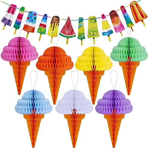 Supla Ice Cream Party Decorations Set 6.56' Ice Cream Paper Garland Banner and 7 Ice Cream Tissue Paper Ice Cream Cone Honeycomb Balls 12.4
