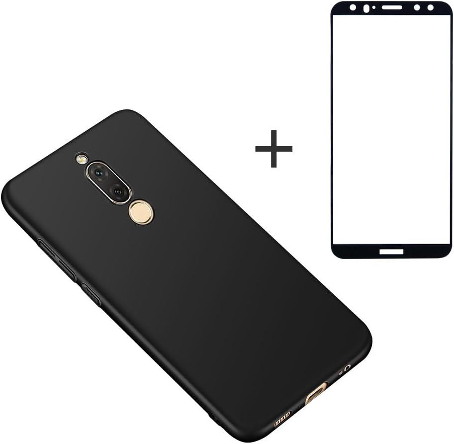 BLUGUL Huawei Mate 10 Lite + Vidrio templado, Ultra delgado, completamente protector, Feel Silk, Película protectora y Estuches duros para Mate 10 Lite Negro