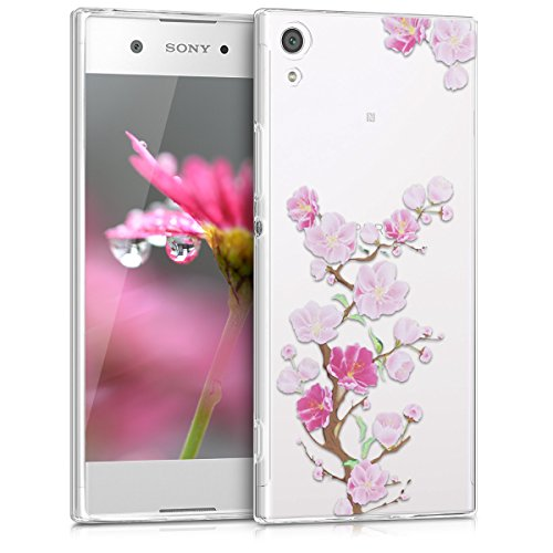 kwmobile TPU Silicone Case for Sony Xperia XA1 - Crystal Clear Smartphone Back Case Protective Cover - Dark Pink/Light Pink/Transparent