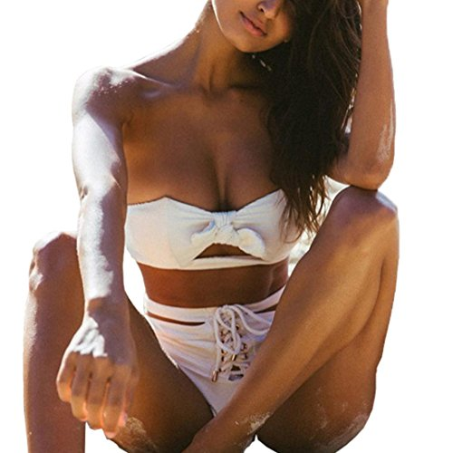 G-real Women Sexy Off Shoulder Bikini Set White Knot Tops+Bandage Bottoms Two Piece Swimsuit Beachwear (White, - D&g Junior