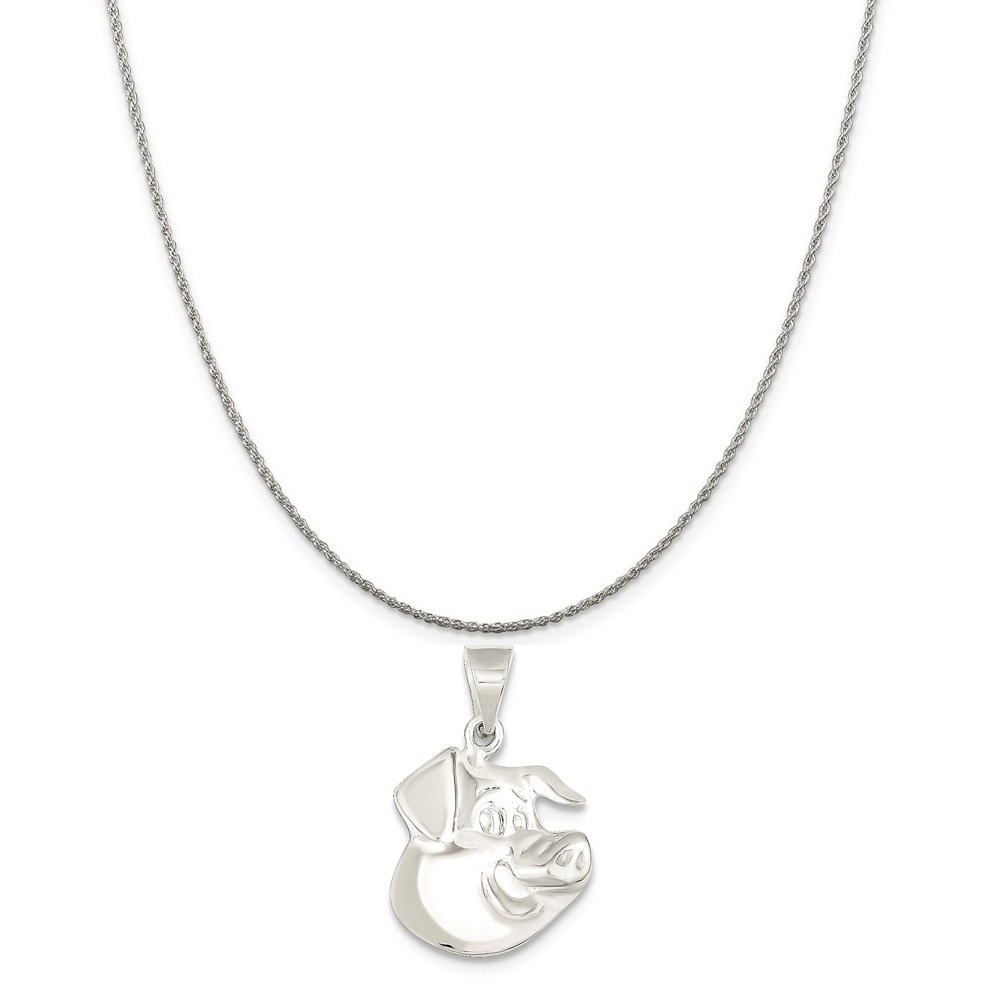 16-20 Mireval Sterling Silver Pig Charm on a Sterling Silver Chain Necklace