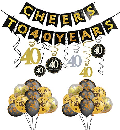 40th Birthday Party Decorations Cheers to 40 Years Banner,Sparkling 30 Foil Hanging Swirls Number Print and Confetti Balloons Party Favors for Adults