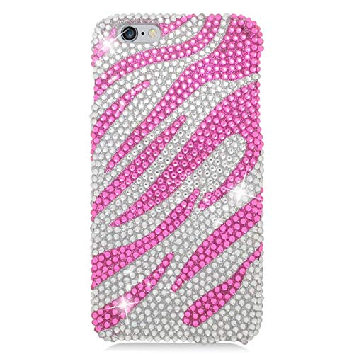 Insten Zebra Rhinestone Diamond Bling Hard Snap-in Case Cover Compatible with Apple iPhone 6 Plus/6s Plus, Hot Pink/Silver