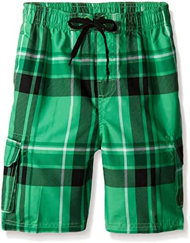 Kanu Surf Boys' Matrix Plaid Swim Trunk