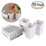 50pcs Popcorn Boxes Yellow Design Trio Miniature Scalloped Edge Cardboard Party Candy Container Treat Cartons (Silver)