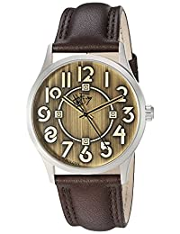 Bulova 96A148 Men's Frank Lloyd Wright Exhibition Gold Tone Dial Brown Leather Strap Watch