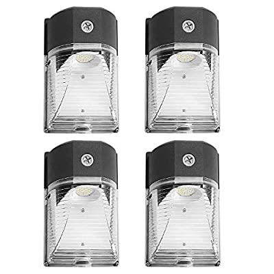 CINOTON LED Wall Pack Light, 26W 3000lm 5000K (Dusk-to-Dawn Photocell,Waterproof IP65), 100-277Vac,150-250W MH/HPS Replacement, ETL DLC Listed 5-Year Warranty Outdoor Security Lighting (4pack)