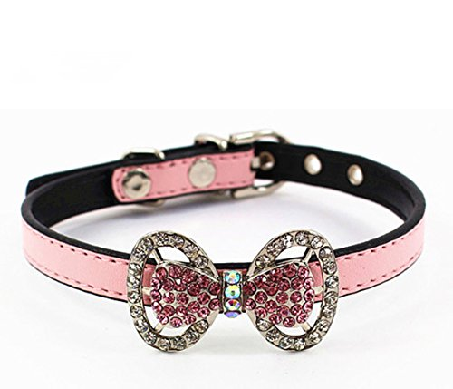 COCOPET Bling Rhinestone Pet Cat Dog Bow Tie Collar Necklace Jewelry for Small or Medium Dogs Cats Pets Female Puppies Chihuahua Yorkie Girl Costume Outfits, Light and Adjustble Buckle (XS)