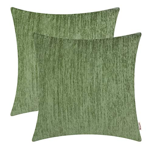 BRAWARM Pack of 2 Comfy Chenille Throw Pillow Covers Cases for Couch Sofa Bed Solid Dyed Soft Stripe Texture Cushion Covers Both Sides for Home Decoration 20 X 20 Inches Forest Green (Forest Throw Pillows Green)
