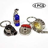 ISPEEDY 4PCS Mini Key Ring Turbo Keychain Auto Parts Model Keychain-Gold Tire Wheel,Turbo,Brake Rotor, NOS Mini Nitrous Oxide Bottle Keychain