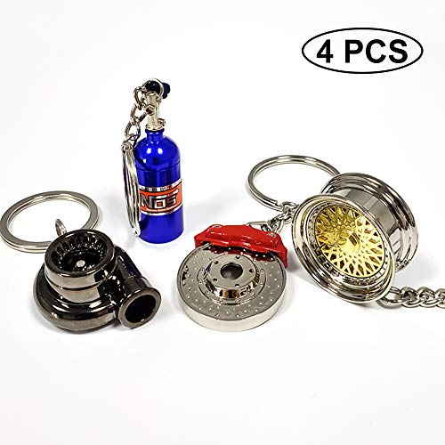 ISPEEDY 4PCS Mini Key Ring Turbo Keychain Auto Parts Model Keychain-Gold Tire Wheel,Turbo,Brake Rotor, NOS Mini Nitrous Oxide Bottle Keychain
