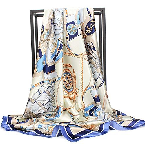 "Women's Silk Scarf Belt Pattern Large Square Satin Headscarf Headdress 35"""