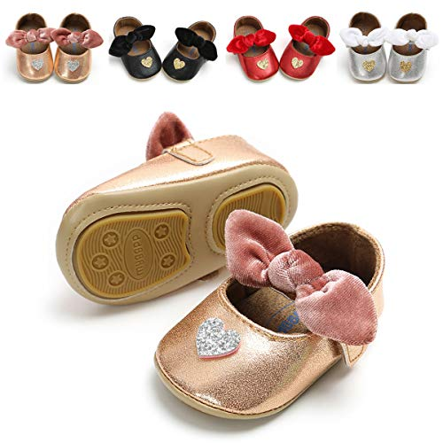 46c5c4e150d4 E-FAK Baby Girls Sparkly Mary Jane Flats with Bowknot Non-Slip Soft Rubber  Sole Toddler First Walkers Princess Dress Shoes (4.33 Inches(0-6 Months),  ...