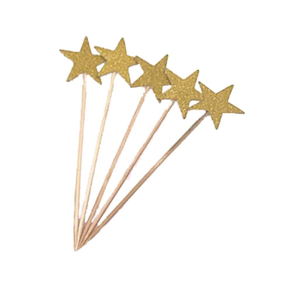 Ogquaton Étoiles Cake Toppers Artisanat Double Face Paillettes d'or étoiles scintillent Twinkle Little Star décorations Baby Shower Cake Toppers Set de 5