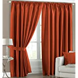 Faux Silk Light Reducing Thermal Burnt Orange 46x72 Pencil Pleat Curtains with Tiebacks by Textile Warehouse