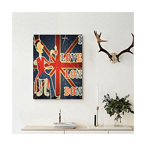 Liguo88 Custom canvas British I Love London Quote with English Man on UK Flag Backdrop National Design Wall Hanging for Gold Dark Blue Red (Figures Father Christmas Large Uk)