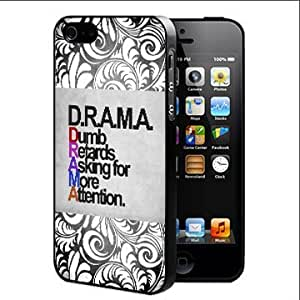 DRAMA Quote with Grunge and Black and White Floral Vector Hard Snap On Cell Phone Case Cover (iPhone 5 5s)