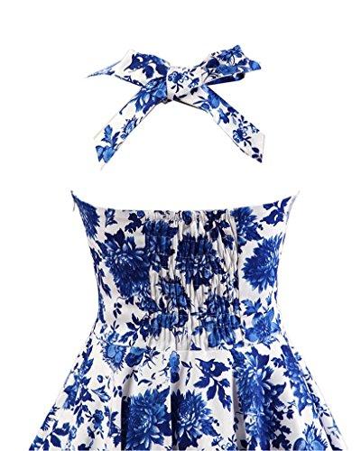 ... MISSMAO Vintage Rockabilly Kleid Blumen Neckholder Cocktailkleider 50s  Hepburn Kleid Festlich Petticoat Kleid Weiß   Blau 0de8ad3933