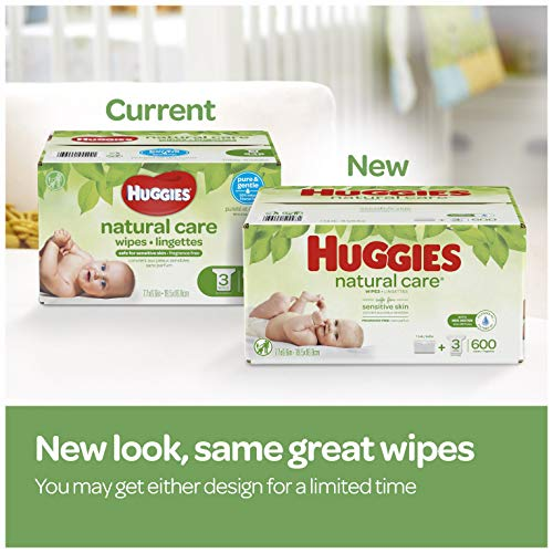 HUGGIES Natural Care Unscented Baby Wipes, Sensitive, 3 Refill Packs (624 Total Wipes) by Huggies (Image #2)