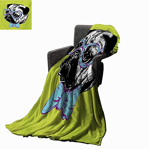 (Anyangeight Pug Throw Blanket Cute Dog with a Bow Tie and Nerdy Glasses on Green Shade Backdrop,Super Soft and Comfortable,Suitable for Sofas,Chairs,beds)
