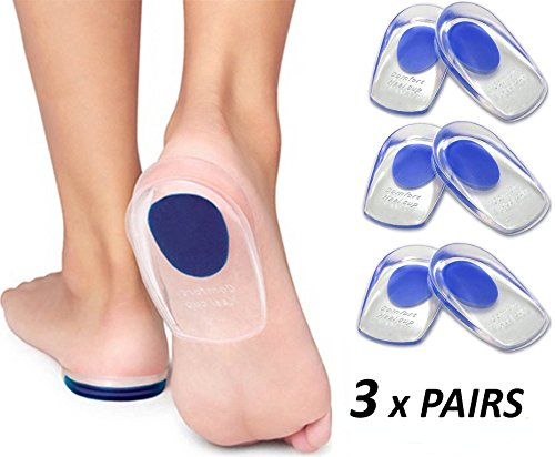 Gel Heel Cups Plantar Fasciitis Inserts - Silicone Heel Cup Pads for Bone Spurs Pain Relief Protectors of Your Sore or Bruised Feet Best Insole Gels Treatment by Armstrong Amerika (Large) (Bone Spur Pads)