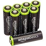 Amazon Basics Baterías recargables AA, precargadas, paquete de 8. El empaque puede variar