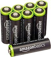 AmazonBasics Baterías recargables AA, precargadas, paquete de 8. El empaque puede variar