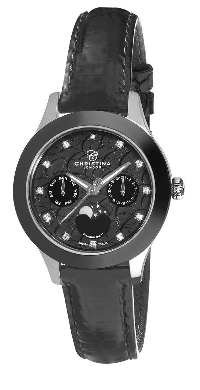 Christina Design London Diamond Night Untergang Damen-Quarzuhr mit schwarzem Zifferblatt Analog-Anzeige und schwarz