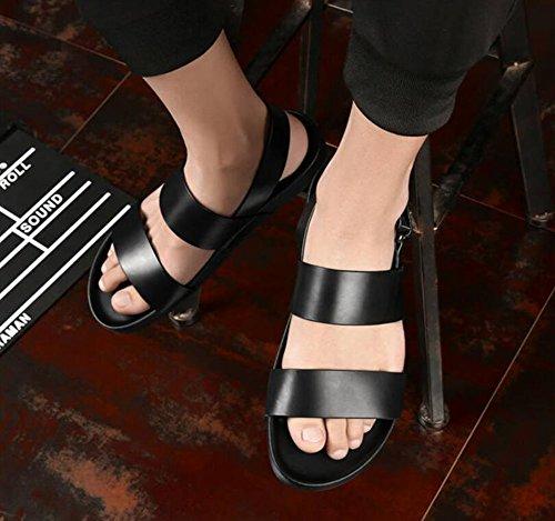 da nera vera sandali in pelle 42 pelle Dimensione in spiaggia esterni Nero sandali da Pantofole Colore da grandi dimensioni uomo uomo ciabattine cqTwtnxYA