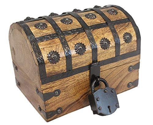 (Well Pack Box Pirate Treasure Chest Wooden W/Iron Lock Skeleton Key 8x6x6 Wood Storage Decorative Keepsake Box )