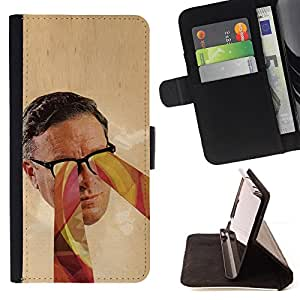 DEVIL CASE - FOR Samsung Galaxy Note 3 III - Glasses Psychedelic Art Colors Man Face Portrait - Style PU Leather Case Wallet Flip Stand Flap Closure Cover