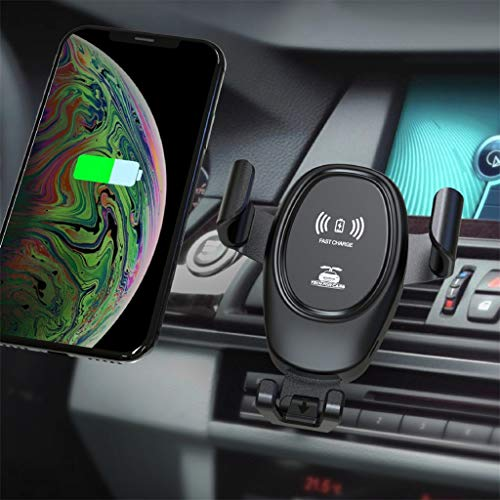 Transser Wireless Car Charger, Automatic Clamping Gravity Sensor Car Fast Wireless Charger Car Mount Air Vent Phone Holder, 10W Qi Fast Charging Phone Holder (Black)