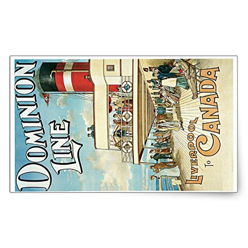 Dominion Line, Liverpool to Canada Rectangular Sticker - Sticker Graphic - Travel Vintage Luggage Sticker for Bumpers Suitcase Luggage Folders Decor Sticker Decal Souvenir Sticker Decal