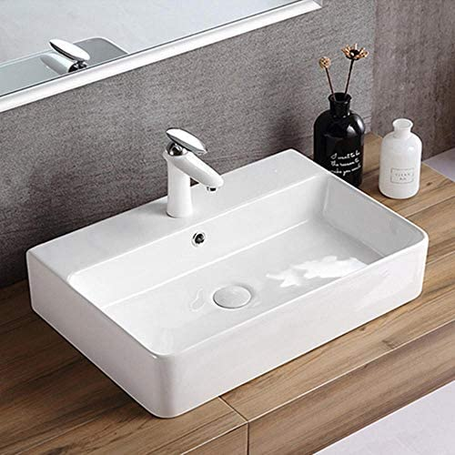 洗面ボウル 洗面所洗面化粧台のキャビネットのためのシンプルなスクエアセラミック容器シンク浴室の上カウンターアート盆地 洗面器 (Color : White, Size : 60x42x13.5cm)