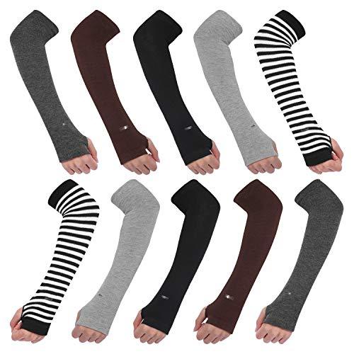 AoToZan 5 Paar Armwärmer lange Stulpen Fingerlose Handschuhe Handwärmer mit Daumenloch, Schwarz, Kaffee, Grau, Weiß-Schwarz, Dunkelgrau, Einheitsgröße