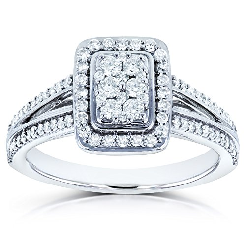 Diamond Halo Split Shank Engagement Ring 1/2ct TW in 14k White Gold, 11 -